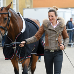 Sarah with Blou at the final Badminton horse inspectiion